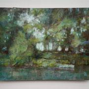 """""""Sul naviglio"""", olio su faesite, cm. 35 x 45 x 0,2 - € 400"""