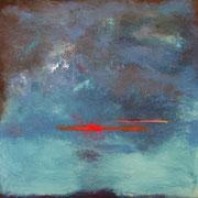 """""""L'eau"""" - Huile, pigments et pastels sur toile - 100x100 cm- 2017 (série LIENS)"""