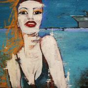 """"""" 2012 """" - Huile, pigments et pastels sur toile - 70x100 cm - 2012"""