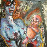 """"""" Mère et enfant """" - Acrylique et craie sur bois - 70x70 cm - 2003"""