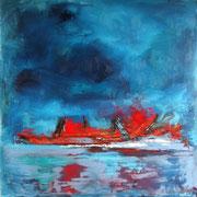 """""""Le coeur de la terre"""" - Huile, pigments et pastels sur toile - 80x80cm - 2015"""