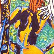 """"""" Verticalité """" - Acrylique sur bois - 40x120 cm - 2003"""