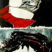 """"""" Autoportraits """" - Acrylique sur papier - 35x100 cm - 2004"""