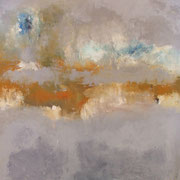 """""""Soleil Levant"""" - Huile et pigments sur toile - 100x100cm- 2017 (pour la série LIENS)"""