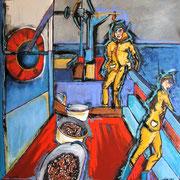 """""""A bord"""" - Atlantica - Huile, pigments et Pastels sur toile - 100x100 cm- 2013/2014"""