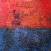 """""""Le Crépuscule"""" - Huile, pigments et pastels sur toile - 100x100 cm- 2017"""