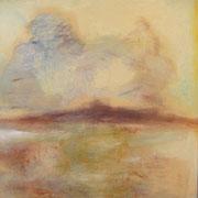 """""""Terre"""" - Huile et pigments sur toile - 100x100cm- 2017 (pour la série Liens)"""