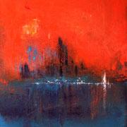 """""""Eau de feu"""" - Huile et pigments sur toile - 50x60cm- 2017"""