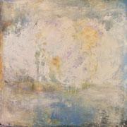 """""""Lichen"""" - Huile et pigments sur toile - 100x100cm- 2017 (pour la série LIENS)"""
