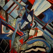""""""" Bleue """" - Acrylique sur bois - 100x100 cm - 2004"""