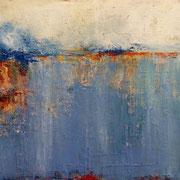 """""""Petite Mer de Feu"""" - Huile, pigments et pastels sur toile - 30x45 cm - 2014"""