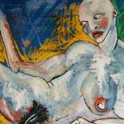 """"""" Naked Woman """" - Huile, pigments et pastels sur toile - 70x100cm - 2012"""