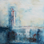 """""""Le phare"""" - Huile, pigments et pastels sur toile - 80x80cm - 2015"""