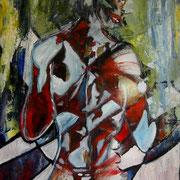 """"""" Dos """" - Acrylique sur bois - 70x100 cm - 2005"""