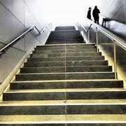 Treppe in der U-Bahnstation Hafencity Universität. Foto: ©Rita Helmholtz