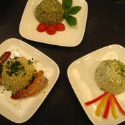 verschieden Risotto-Gerichte