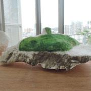 「二次元-江の島-」   2016  大理石、油彩