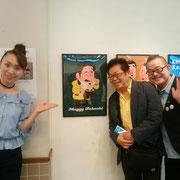 師匠のマギー司郎さん、演歌歌手の近江綾さんと一緒に。