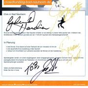 """Autogramme der TCB-Mitglieder von Elvis auf dem Vorentwurf der Website von """"ELVIS IN BAD NAUHEIM"""""""