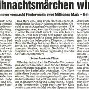 Dr. Hans Erich Hoch vermacht dem Förderverein 2 Millionen DM, WZ 14.12.2001