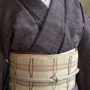 灰紫紬+格子八寸帯