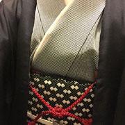 各通し江戸小紋+こぎん刺し+黒羽織