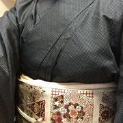 大島紬+赤花名古屋帯