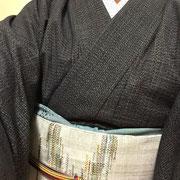 久留米絣+金銀ワイヤー糸を織り込んだ名古屋帯