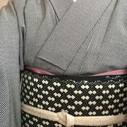 各通し江戸小紋+こぎん刺し名古屋帯