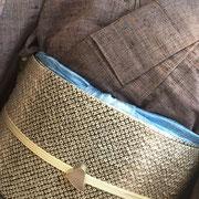 灰紫紬+疋田絞り染めの袋帯