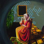 Das Glas Wein, Acrylic on canvas, 50x40 cm, 2016