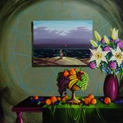 Mensch am Meer, Acrylic on canvas, 145x145 cm, 2016