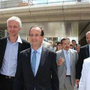 François Hollande, en visite dans le quartier de la Confuence à Lyon  © Anik COUBLE