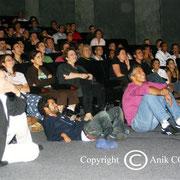 Thierrry Fremaux ,Jamel Debbouze et Samy Naceri qui découvrent  les films des frères Lumière  / Photo : Anik Couble