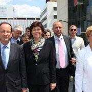 François Hollande, Bernadette Laclais, Jean-François Debat  et Eliane Giraud © Anik COUBLE