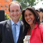 François Hollande et Michèle Edery (adjointe au maire de St Fons)  © Anik COUBLE