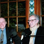 Jacques Oudot et Jean-Luc Godard - Institut Lumière - Lyon - 1996 © Anik COUBLE