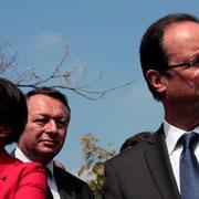 Hélène GEOFFROY, Thierry BRAILLARD et François Hollande à Vaulx en Velin © Anik COUBLE