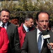 Thierry BRAILLARD et François Hollande à Vaulx en Velin © Anik COUBLE