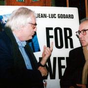 Jacques Oudot, Bertrand Tavernier et Jean-Luc Godard - Institut Lumière - Lyon - 1996 © Anik COUBLE