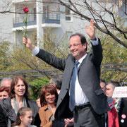 François Hollande, Farida BOUDAOUD, Martine ROURE à Vaulx en Velin © Anik COUBLE
