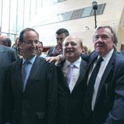 François Hollande entouré  de Jean-Jack Queyranne, Jean Besson,  Michel Gregoire et Jean-François Debat  © Anik COUBLE