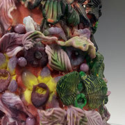 Dionysos 2017 Detail Pate de Verre, Cire Perdue and Lampworked Elements