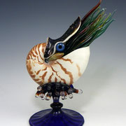 Nautilus Sculpture 2017 Mmixed Media, Nautilus Shell and Lampworked Glass