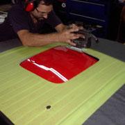 Perçage du capot pour installer le shaker hood