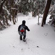 雪を踏みしめ下山