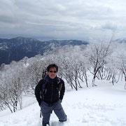 山頂付近で記念撮影
