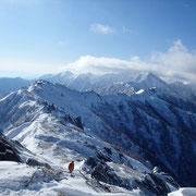 山頂から燕山荘、大天井岳