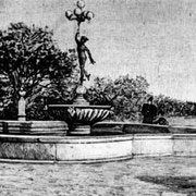 Fontana del Mercurio, giardini pubblici, Foggia. Disegno di Mario Menduni eseguito nel 1952, da stampa del 1894. Biblioteca Provinciale dei Cappuccini, Fondo Gaetano Spirito, Indice Illustrazioni, vol. IX, Tav. 67