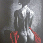 Back study, red drape